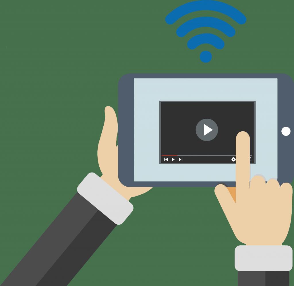 Studio - Motion design : une communication ciblée sous forme de vidéo est diffusée à un homme souhaitant se connecter au réseau Wi-Fi d'un lieu