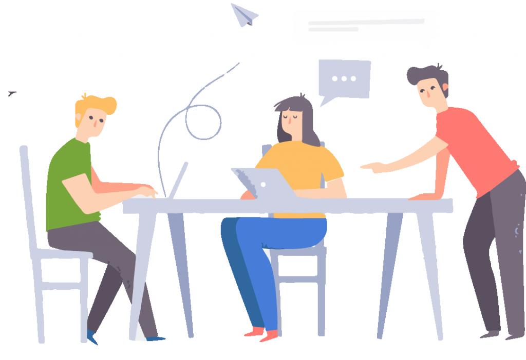 L'éducation - Motion design représentant trois étudiants en train de travailler autour d'une table grâce au Wi-Fi