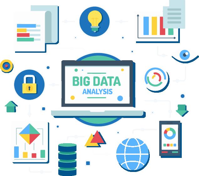 Logview - Image en motion design représentant de manière symbolique l'analyse Big Data : un ordinateur, un cadenas, des données, un téléphone, etc.