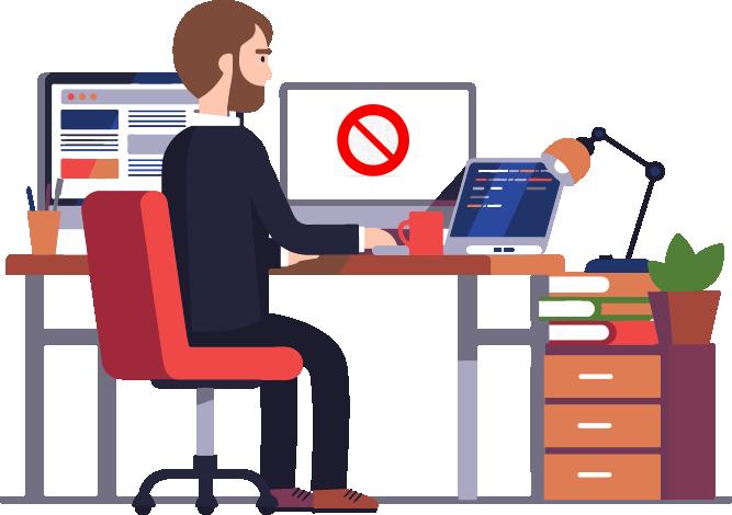 DNS Protect - Image en motion design représentant un homme qui essaye de se connecte à un site web mais dont l'accès lui est refusé.