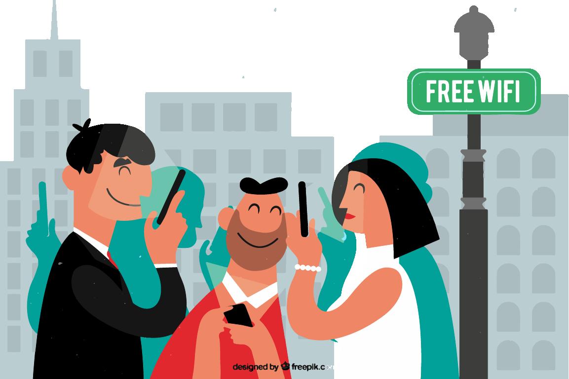 Les collectivités - Image en motion design représentant des citoyens connectés au Wi-Fi gratuit de leur ville.