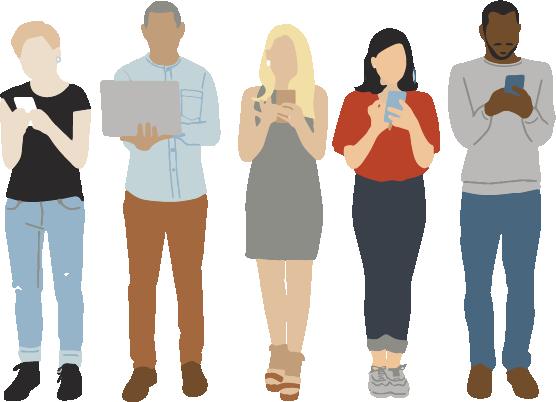 Les transports - Image en motion design représentant trois femmes et deux hommes utilisant leur téléphone ou ordinateur portable connectés au Wi-Fi