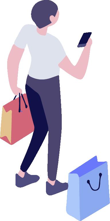 La vente - Motion design représentant un homme en train de faire des achats et utilisant son téléphone connecté au réseau Wi-Fi du centre commercial