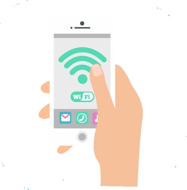 L'événementiel - Image en motion design représentant un écran de téléphone connecté au Wi-Fi