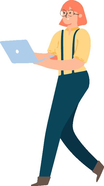 Image en motion design représentant une femme marchant avec son ordinateur portable connecté au Wi-Fi, dans les mains