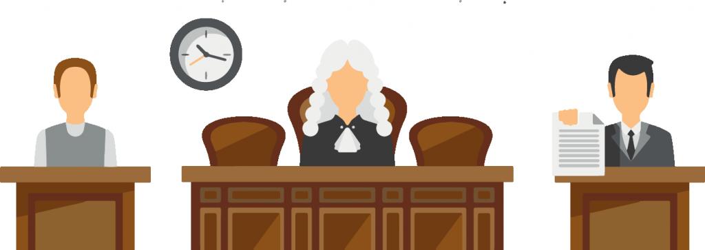 Logview - Image en motion design représentant un tribunal avec un magistrat au centre et deux avocats dont un qui montre un texte de loi