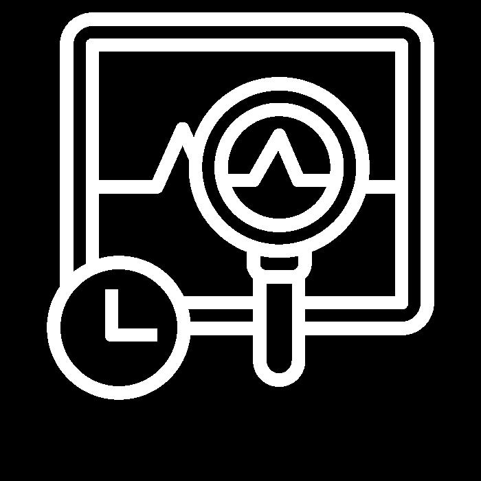 Pictogramme représentant un écran d'ordinateur avec une courbe évoluant en temps réel : symbole de l'affiche des statistiques d'usage du Wi-Fi