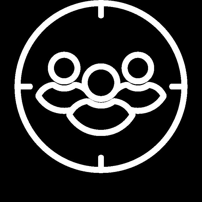 Pictogramme représentant trois personnages dans une cible : le symbole d'une communication ciblée