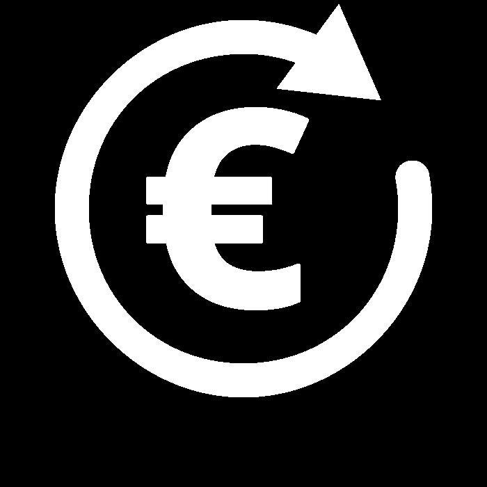 Pictogramme représentant le symbole Euro dans un flèche circulaire