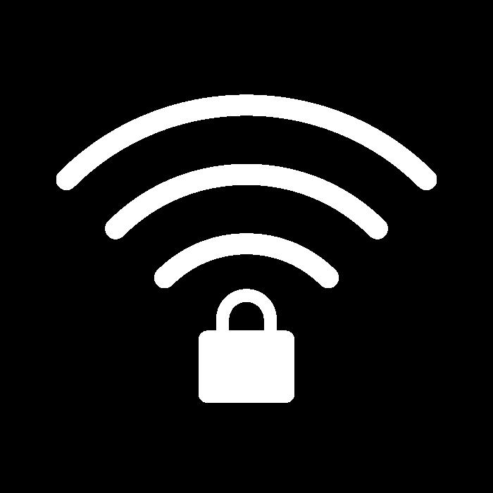 Pictogramme représentant le symbole du Wi-Fi ainsi qu'un cadenas, symbole d'une connexion sécurisée