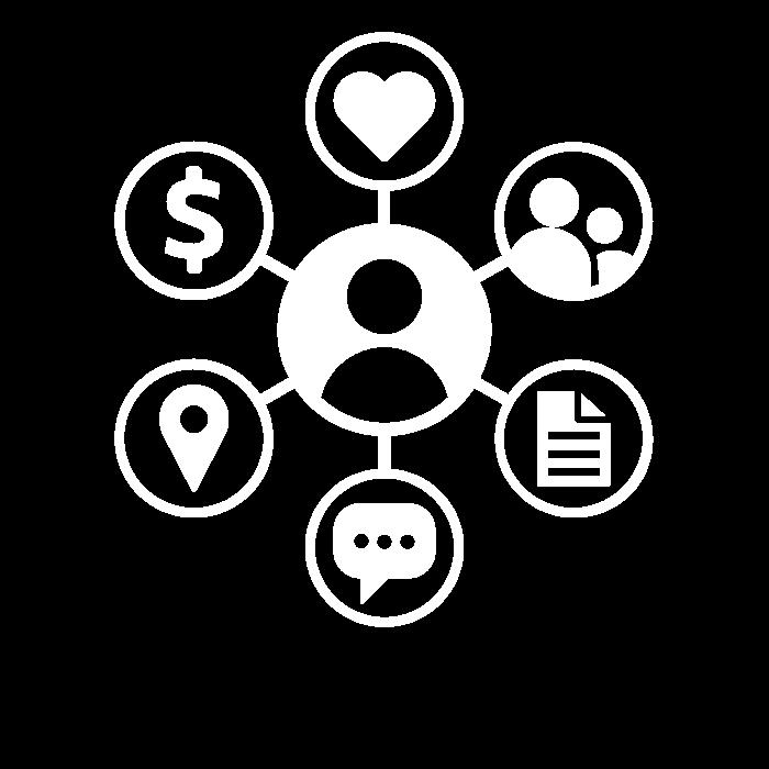 Pictogramme représentant toutes données qui peuvent être collectées chez un individu et permettant de mettre en place une stratégie Big Data