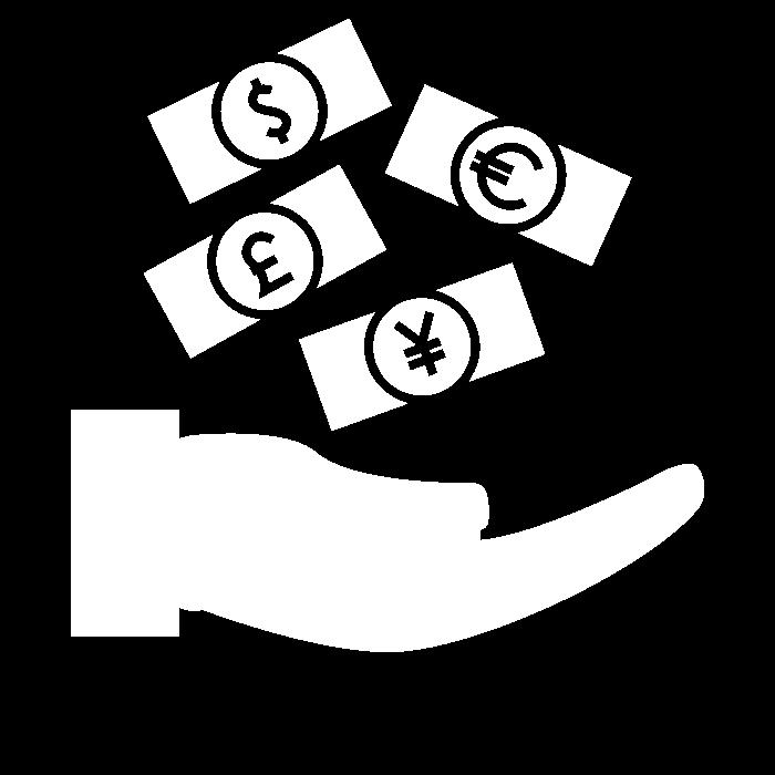 Pictogramme représentant une main recueillant des billets : symbole des sources de revenus générées par le déploiement des solutions ADIPSYS sur un site