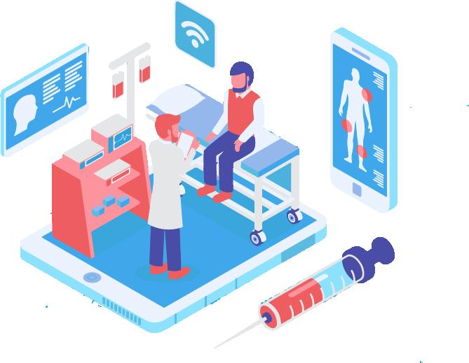 Les milieux hospitaliers - Motion design représentant un cabinet médical connecté au Wi-Fi où un médecin examine un patient.