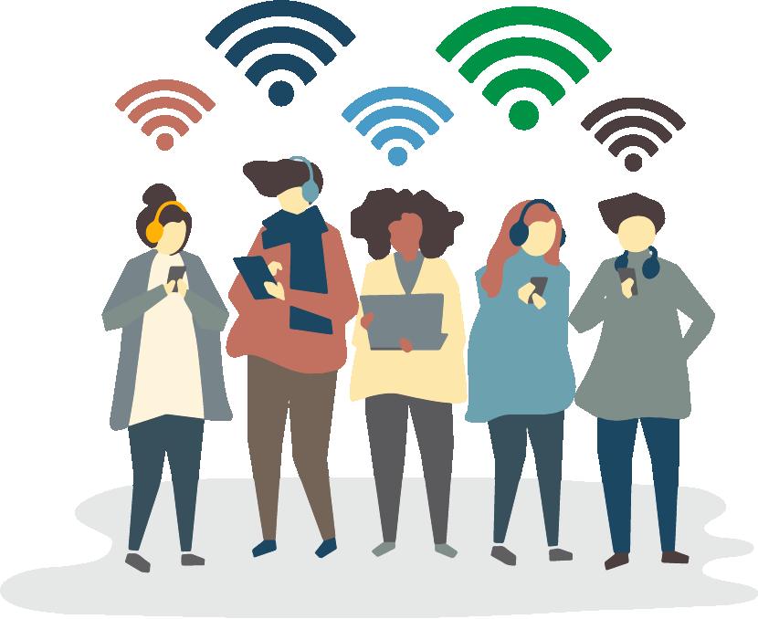 Studio - Motion design représentant cinq personnages utilisant leur téléphone, tablette ou ordinateur pour se connecter au réseau Wi-Fi