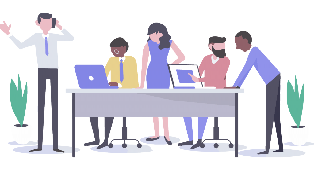 ADIPSYS team: Motion design image with four people working in an office