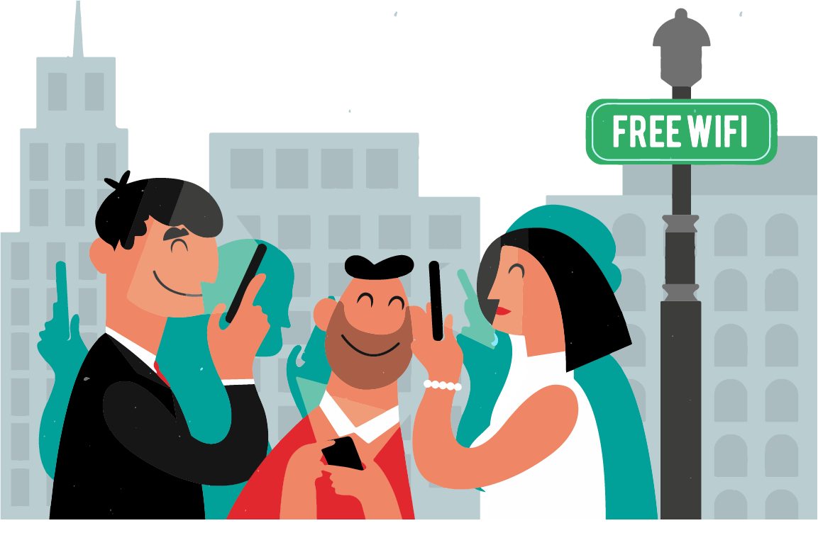 Motion design image: three people are connected to the Wi-Fi in their city