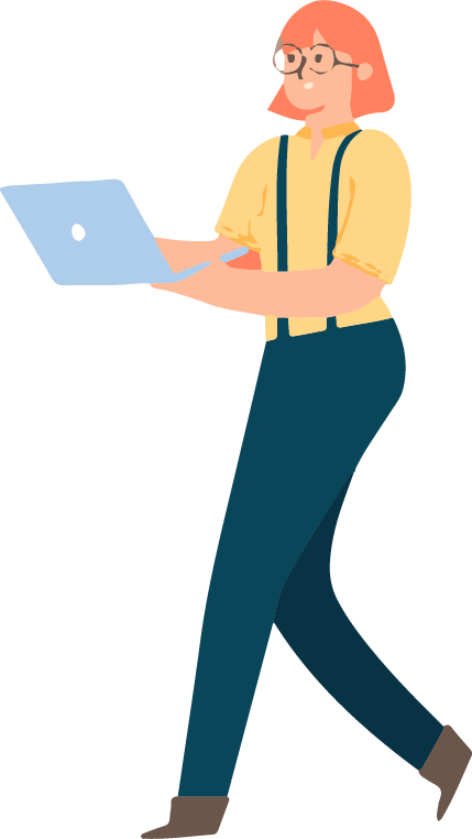 motion design image: a employee is walking in her company and are still connected to the Wi-Fi