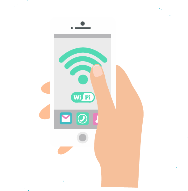 Motion design image : a hand is activating the Wi-Fi on a phone