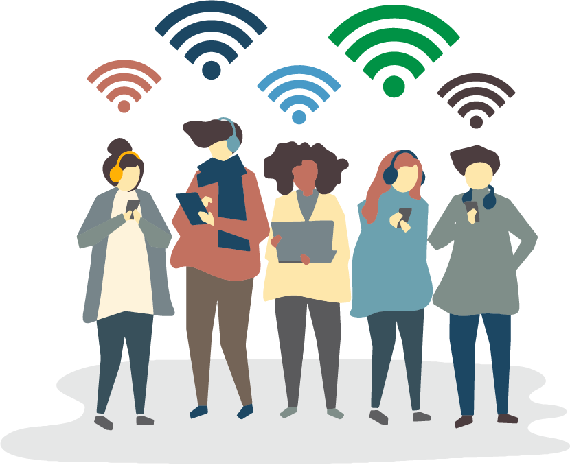 People in a smart city connected to Wi-Fi on their phone