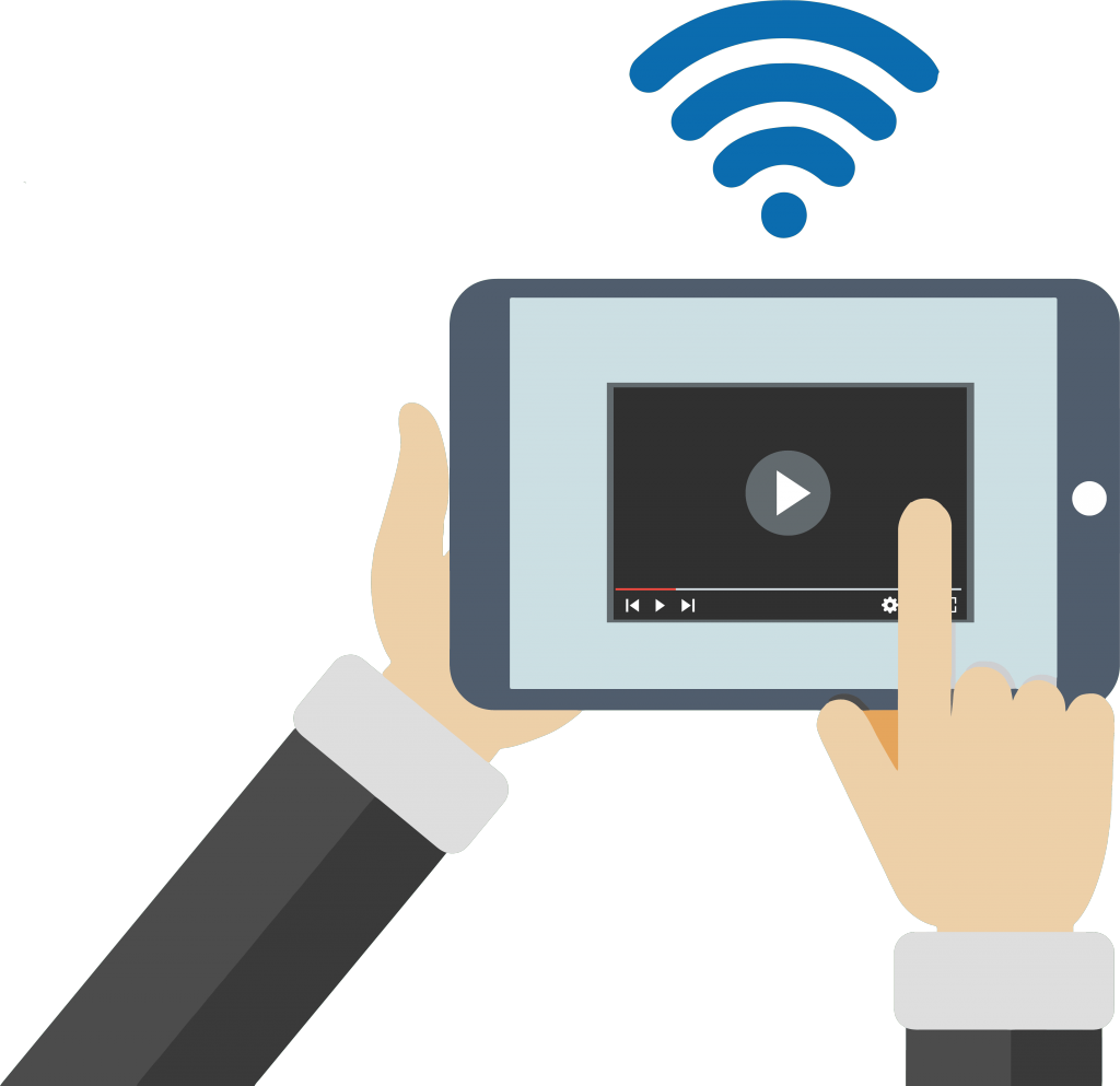 Studio -Motion design image : a tablet broadcasting a video before and/or after the captiv portal