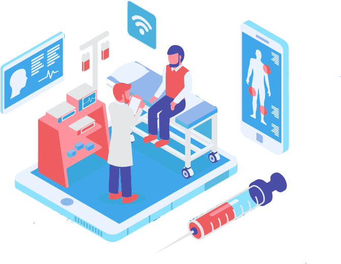 Motion design: patient room in a clinic connected to Wi-Fi