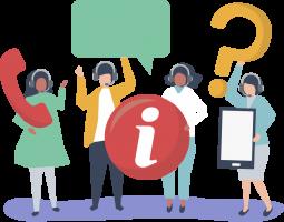 Motion design représentant quatre femmes d'un call center qui répondent aux questions et interrogations des clients